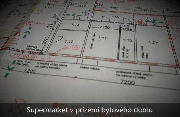 Požiarny projekt supermarketu v prízemí bytového domu